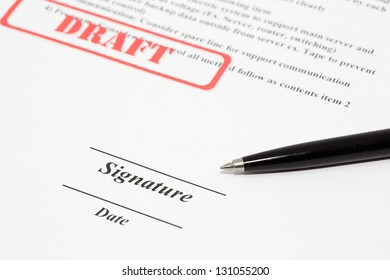Sign document with black pen