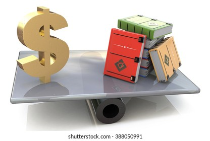 Sign dollar and the books on scales in the design of the information related to finances and knowledge