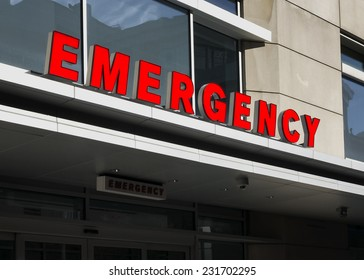 a sign for the emergency room at a hospital