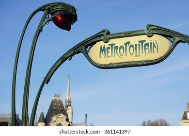 Sign at the entrance of a metro (Metropolitain) subway station in the French capital