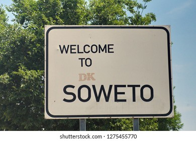 Sign at the entrance to Soweto, near Johannesburg, South Africa
