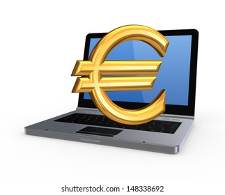 Sign of euro on notebook.Isolated on white.3d rendered.