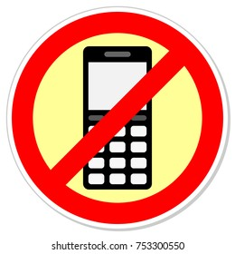 Sign forbidding to use the phone. illustration.