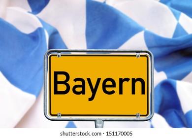 sign with the german word Bavaria with Bavarian flag / Bavaria