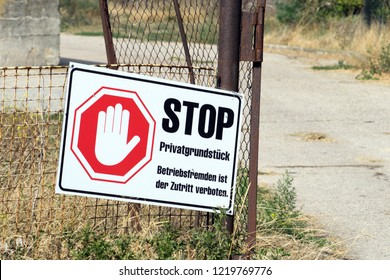 sign with the german words Private property forbidden to enter