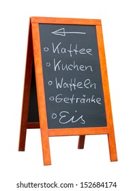 Sign in germany for fresh ice coffee and cakes isolated on white
