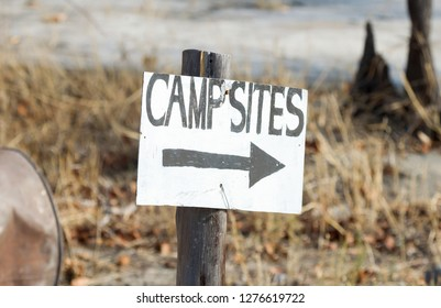Sign, go right to the campsites - Botswana