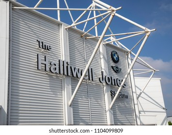 The sign for the Halliwell Jones Stadium home of the Warrington Wolves professional Rugby League team in Warrington Cheshire May 2018