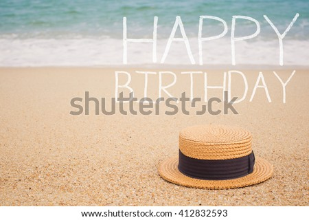 Sign Happy Birthday On The Sandy Beach By