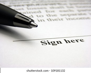 Sign here field. The signature concept.