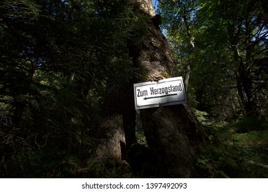 Sign at Herzogstand mountain in Bavaria, Germany in summertime
