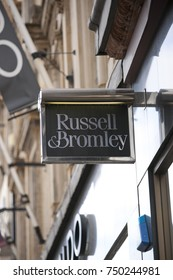 Sign for the high street store Russell and Bromley in Glasgow city centre - Glasgow, Scotland, UK 8th September 2013