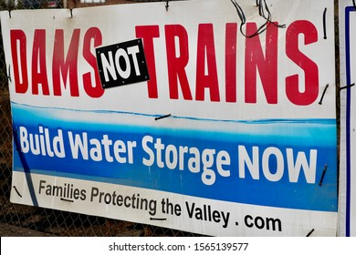 a sign highlighting the controversy in california between water rights and high speed rail is displayed near fresno, california on november 17, 2019