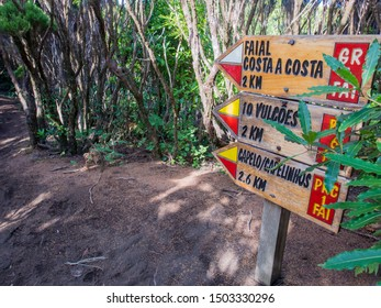 Sign for hiking trails on Faial Island, Azores, Portugal