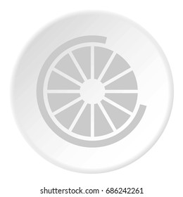 Sign incomplete download icon in flat circle isolated  illustration for web