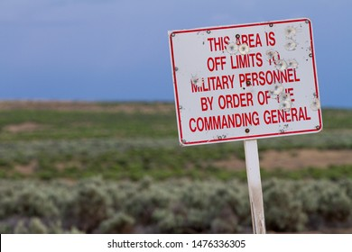 sign indicating the area is off limits off the military
