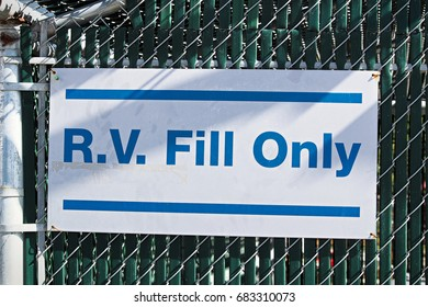 A sign indicating that the water is for R.V filling only.