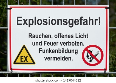 Sign with the inscription Danger of explosion at a gas station