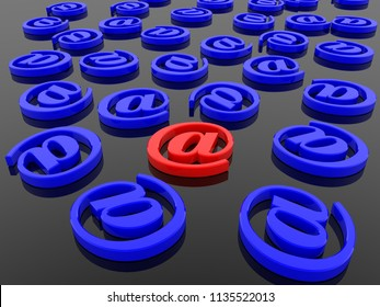 At sign internet symbol in red and blue.3d illustration