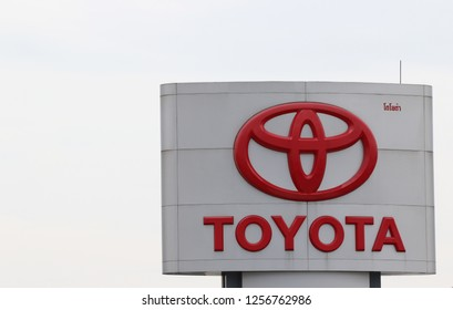 """A sign of Japanese automotive manufacturer """" Toyota """" displayed in Bangkok on December 12, 2018. - -  illustrative and editorial - -"""