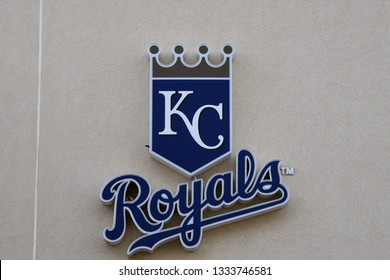 Sign for the Kansas City Royals at Surprise Stadium the spring training facility for the Texas Rangers and the Kansas City Royals Surprise Arizona 3/2/19