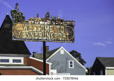 The sign for Kennebunkport in York County Maine, United States., historic shipbuilding and fishing village, and popular summer tourist destination.