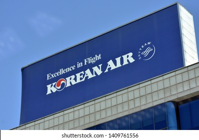 A sign for KOREAN AIR LINES CO.,LTD, It is South Korea's state-run airline and an airline affiliated with Hanjin Group. (Seoul, Korea. May 21, 2019)
