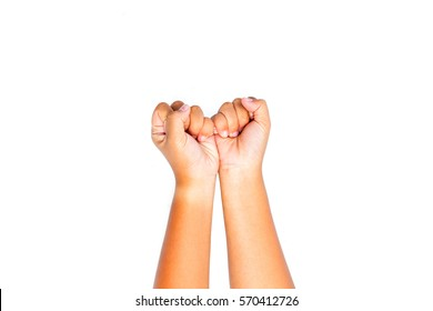 Sign language - Hand sign language  by asian young female hand.