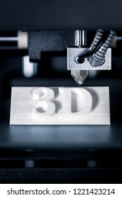Sign with letters or 3D text is or was printed, concept modern technology 3D printer