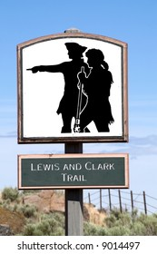 Sign for Lewis and Clark Trail against blue sky