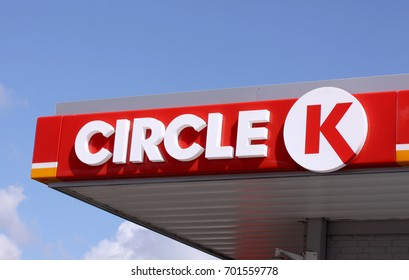 Sign and logo of international chain of gas stations, Circle K. Copenhagen, Denmark, August 22, 2017.
