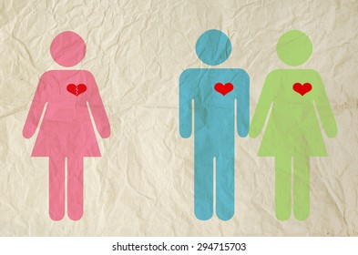 Sign of male and female with broken heart on vintage paper texture background - Relationship concept