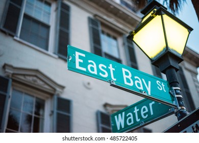 A Sign Marking the Corner of Historic East Bay and Water Street in Charleston, SC