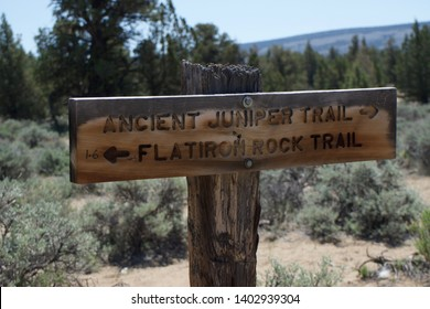 Sign Marking Hiking Trails and Giving Directions and Mileage