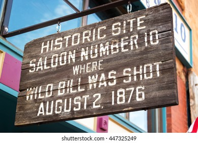 Sign marking the location where Wild Bill Hickok was shot in Deadwood, South Dakota