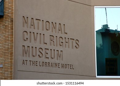 A sign marking the National Civil RIghts Museum at the Lorraine Hotel where Martin Luther King was shot in 1968.   - Memphis, Tennessee, USA - October 13, 2019