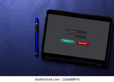 Sign in membership username password concept on tablet screen with blue pen on blue pattern textured background