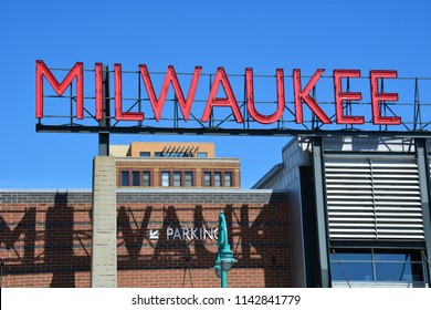 Sign for Milwaukee with the sky in the background. Located on Lake Michigan in S.E. Wisconsin and incorporated in 1846, Milwaukee has a population of just under 600,000.