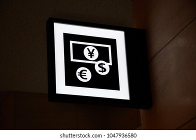 Sign of money changer in Japan
