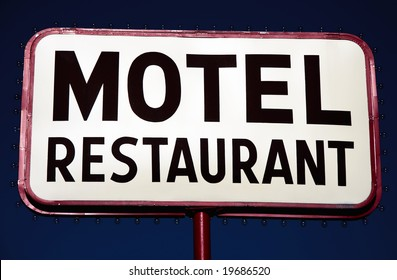 Sign motel restaurant