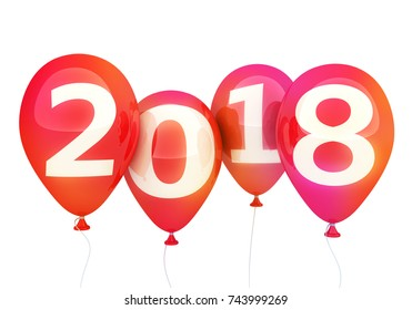 Sign new year 2018 on balloon. 3d illustration
