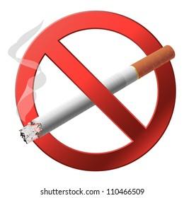 The sign no smoking illustration on white background