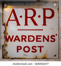 A sign for an OAP Wardens Post from the 2nd World War.  An ARP Warden patrolled the streets during blackout to ensure there was no light visible.