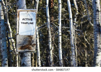 Sign on an Active Trapline in the Woods
