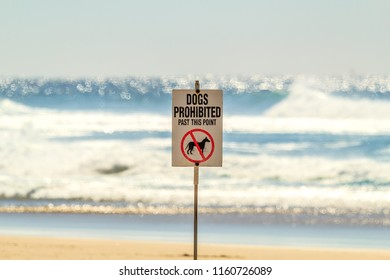 "A sign on an Australian beach that reads ""Dogs Prohibited Beyond This Point""."