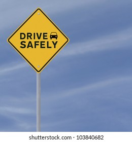 �Drive Safely� sign on a blue sky background (with copy space)
