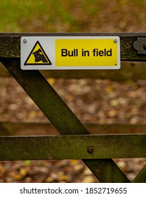 Sign on a gate post leading into a field that reads Bull in Field. Yellow warning sign on a fence in the English countryside