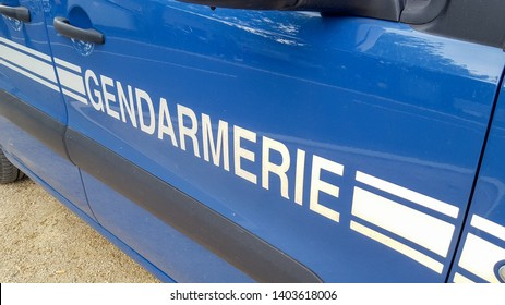 sign on a gendarmerie car emergency vehicle French police
