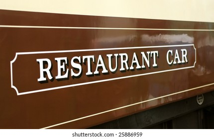 sign on a luxury vintage railway dining car