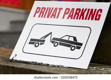 Sign on a private parking lot in the city center of Karlovy Vary in the Czech Republic